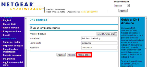 Guida di configurazione Netgear DGN2200 con host .org