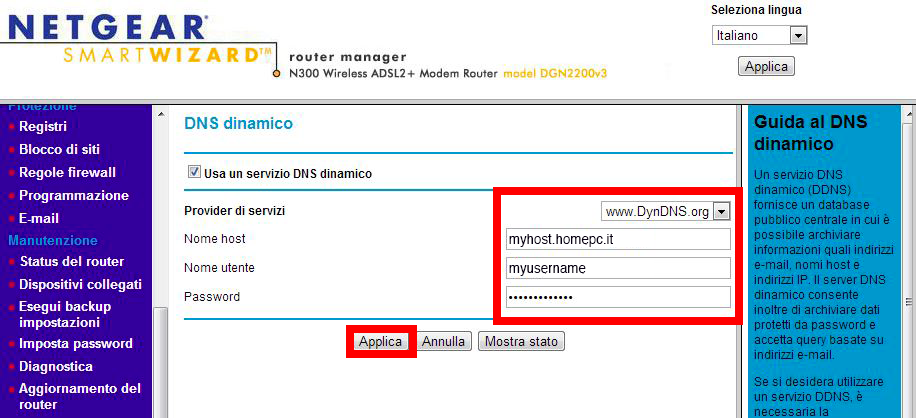 Configurazione dynDNS.it per Netgear in modalità compatibile - dynDNS.it - DNS dinamico gratuito